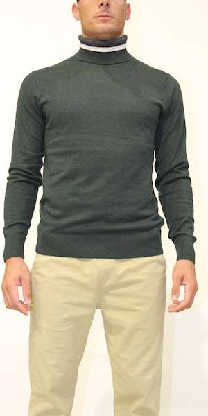 MAGLIONE DSTREZZED TURTLE NECK SOFT COTTON MELANGE