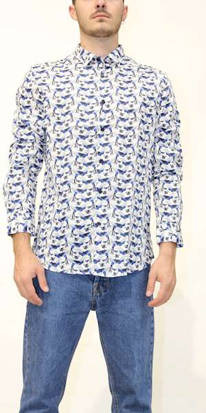 CAMICIA DSTREZZED RESORT SHIRT BIRDS SATIN