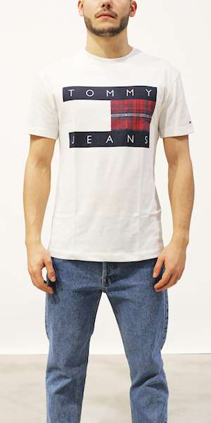 T-SHIRT TOMMY HILFIGER TJM PLAID CENTRE FLAG