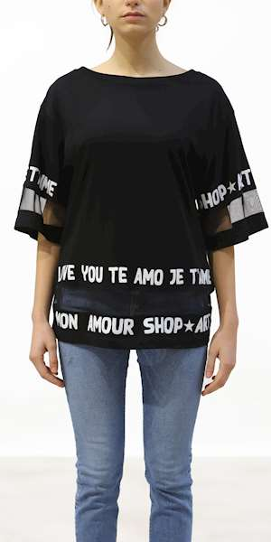 T-SHIRT SHOPART MAGLIA DONNA IN JERSEY E TULLE
