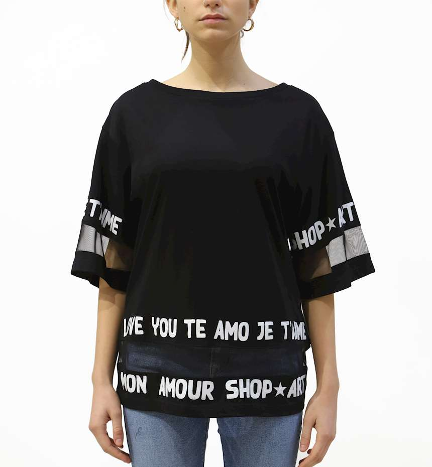T-SHIRT SHOPART DONNA IN JERSEY E TULLE