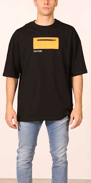 T-SHIRT DOLLY NOIRE  OVER POCKET BLACK & YELLOW