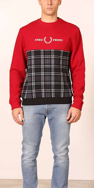 FELPA FRED PERRY TARTAN PANEL