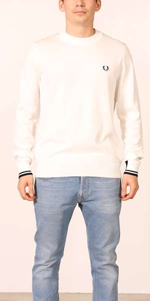 MAGLIONE FRED PERRY ABSTRACT TIPPED CREW NECK