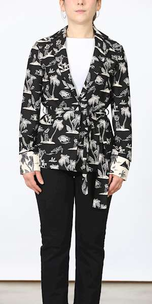 GIACCA SCOTCH&SODA PRINTED BLAZER WITH BELT
