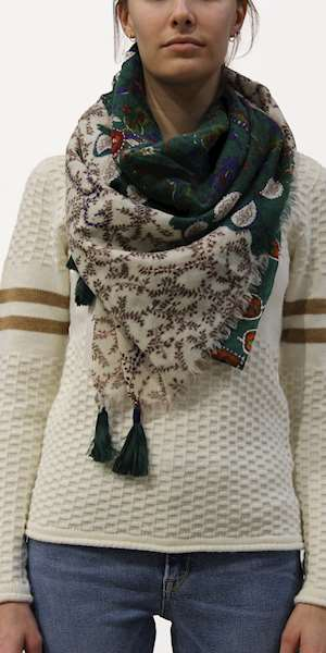SCIARPA/FOULARD ROY ROGERS SCARF FLOWER WOMAN EMBROIDERED WOOL