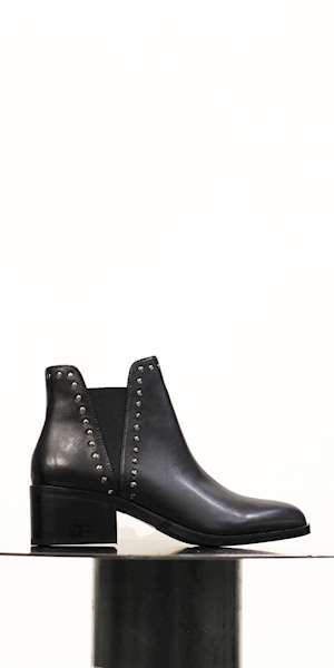 TRONCHETTO CON TACCO STEVE MADDEN CADE BLACK LEATHER