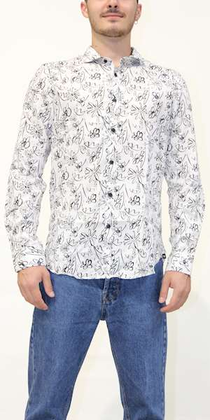 CAMICIA DSTREZZED SHIRT CUT AWAY COLLAR DRAW FLOWER SATIN